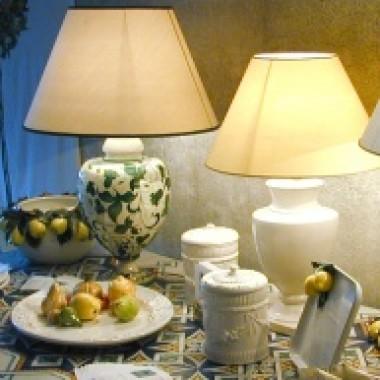 Italienische Majolika-Lampen (inkl. Lampenschirm)